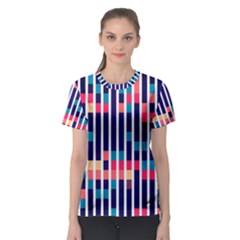 Stripes And Rectangles Pattern Women s Sport Mesh Tee