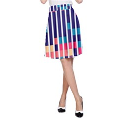 Stripes and rectangles pattern A-line Skirt
