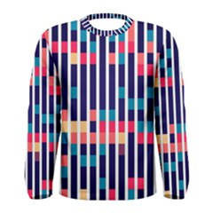 Stripes and rectangles pattern Men Long Sleeve T-shirt