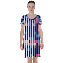 Stripes and rectangles pattern Short Sleeve Nightdress