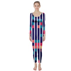 Stripes and rectangles pattern  Long Sleeve Catsuit