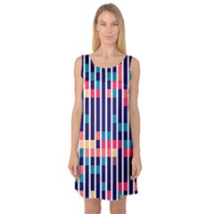 Stripes And Rectangles Pattern Sleeveless Satin Nightdress