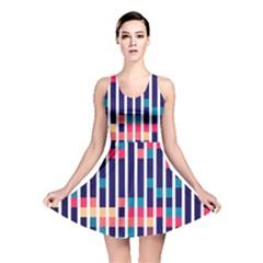 Stripes and rectangles pattern Reversible Skater Dress