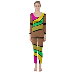 Symmetric Waves  Long Sleeve Catsuit