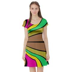 Symmetric Waves Short Sleeve Skater Dress