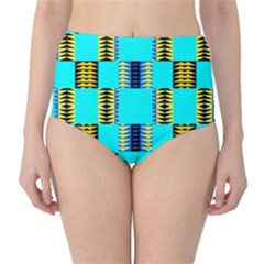Triangles in rectangles pattern High-Waist Bikini Bottoms