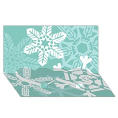 Snowflakes 3  Twin Heart Bottom 3D Greeting Card (8x4)