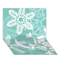 Snowflakes 3  Circle Bottom 3D Greeting Card (7x5)