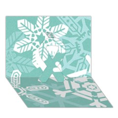 Snowflakes 3  Ribbon 3D Greeting Card (7x5)