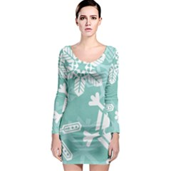 Snowflakes 3  Long Sleeve Bodycon Dresses