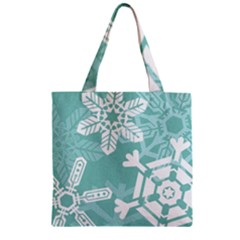 Snowflakes 3  Zipper Grocery Tote Bags