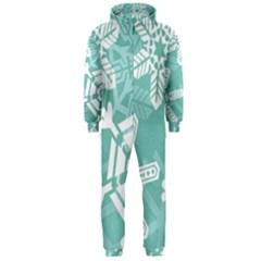 Snowflakes 3  Hooded Jumpsuit (Men)