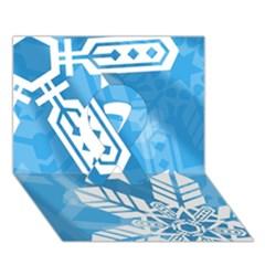 Snowflakes 1  Ribbon 3d Greeting Card (7x5)