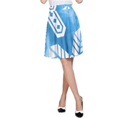 Snowflakes 1  A-Line Skirts