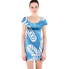 Snowflakes 1  Short Sleeve Bodycon Dresses