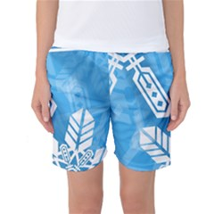 Snowflakes 1  Women s Basketball Shorts
