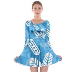 Snowflakes 1  Long Sleeve Skater Dress