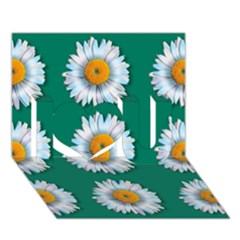 Daisy Pattern  I Love You 3D Greeting Card (7x5)