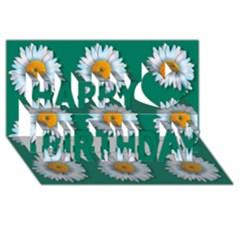 Daisy Pattern  Happy Birthday 3D Greeting Card (8x4)