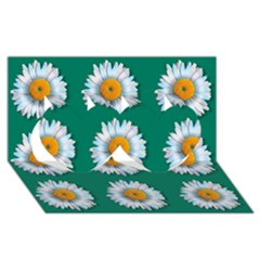 Daisy Pattern  Twin Hearts 3D Greeting Card (8x4)
