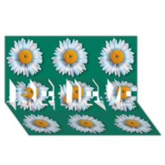 Daisy Pattern  Believe 3d Greeting Card (8x4)