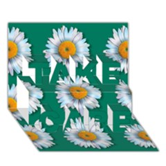 Daisy Pattern  Take Care 3d Greeting Card (7x5)