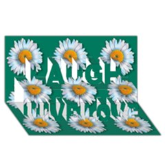 Daisy Pattern  Laugh Live Love 3D Greeting Card (8x4)