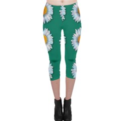 Daisy Pattern  Capri Leggings