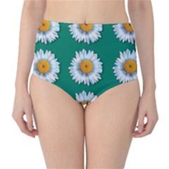 Daisy Pattern  High-Waist Bikini Bottoms