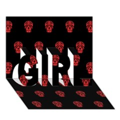 Skull Pattern Red Girl 3d Greeting Card (7x5)