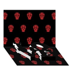 Skull Pattern Red LOVE Bottom 3D Greeting Card (7x5)
