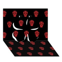 Skull Pattern Red Clover 3D Greeting Card (7x5)