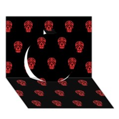 Skull Pattern Red Circle 3D Greeting Card (7x5)