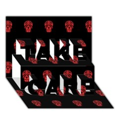 Skull Pattern Red Take Care 3d Greeting Card (7x5)