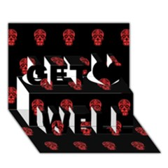 Skull Pattern Red Get Well 3D Greeting Card (7x5)