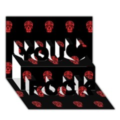 Skull Pattern Red You Rock 3d Greeting Card (7x5)