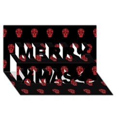 Skull Pattern Red Merry Xmas 3d Greeting Card (8x4)
