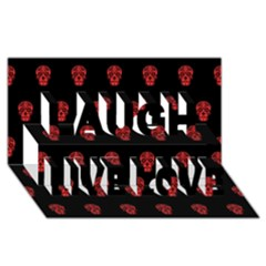 Skull Pattern Red Laugh Live Love 3D Greeting Card (8x4)