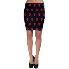Skull Pattern Red Bodycon Skirts