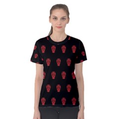 Skull Pattern Red Women s Cotton Tees