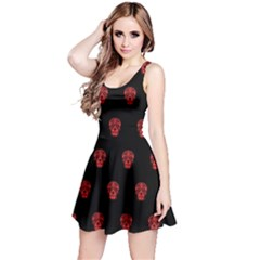 Skull Pattern Red Reversible Sleeveless Dresses