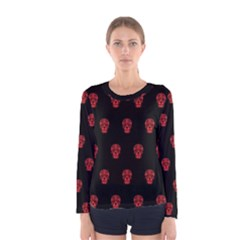 Skull Pattern Red Women s Long Sleeve T-shirts