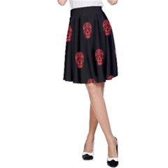 Skull Pattern Red A-Line Skirts