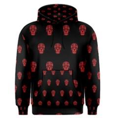 Skull Pattern Red Men s Pullover Hoodies