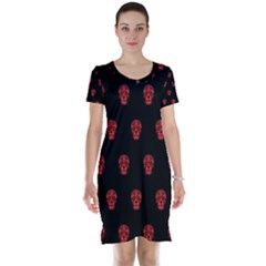 Skull Pattern Red Short Sleeve Nightdresses