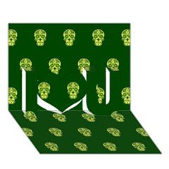 Skull Pattern Green I Love You 3d Greeting Card (7x5)