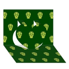 Skull Pattern Green Heart 3D Greeting Card (7x5)