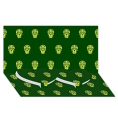 Skull Pattern Green Twin Heart Bottom 3d Greeting Card (8x4)