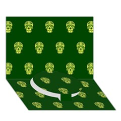 Skull Pattern Green Circle Bottom 3d Greeting Card (7x5)