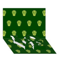 Skull Pattern Green Love Bottom 3d Greeting Card (7x5)